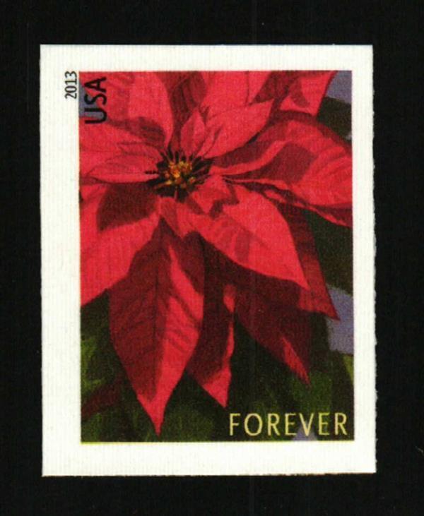 2013 46c Poinsettia, America's Christmas Flower, Imperf