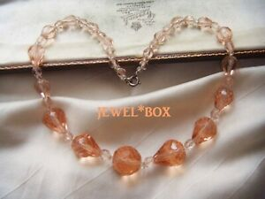 Adorable-ART-DECO-Champagne-Pink-Crystal-Pear-Drop-Beads-VINTAGE-NECKLACE