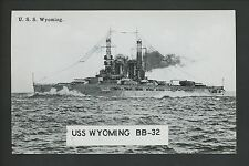 Military Ship postcard USN Navy USS Wyoming BB-32 battleship Premium RPPC