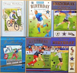Image Is Loading Pack Of 6 Male Birthday Cards Mens Female