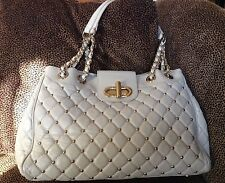 Claudia Firenze Beige Leather Handbag With Gold Studs