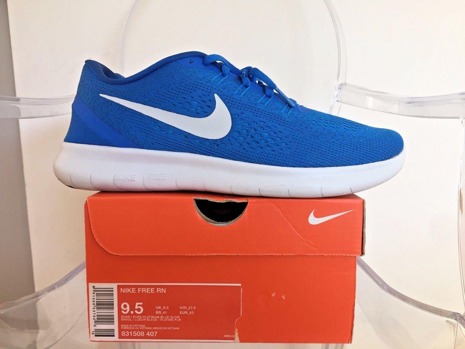 Nike mens freien rn laufschuhe 831508 407 größe 9,5 ragen ragen 9,5 / aus platin / blaue leuchten 9df8ee