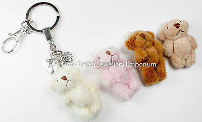 Handmade Gorgeous Jointed Fluffy Teddy Bear Keyring / Bag Charm Keepsake Boxed