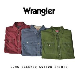 Vintage-De-Hombre-Wrangler-camisas-de-manga-larga-algodon-XS-S-M-L-XL-XXL