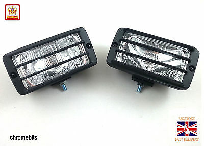 WHITE Bull Nudge Bar Grille Roof-Rail Front Fog Lights Lamps 12V offroad SUV 4x4