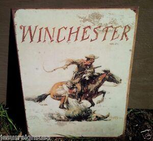 WINCHESTER-WEATHERED-LOGO-Rifles-Guns-Tin-Metal-Sign-Wall-Garage-Classic