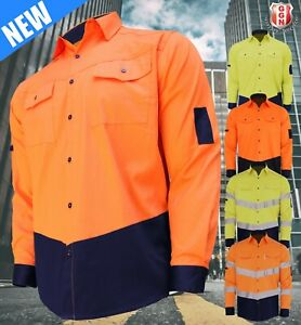 HI-VIS-SHIRT-NEW-DESIGN-SAFETY-COTTON-DRILL-WORK-Vents-UPF-50-LONG-SLEEVE