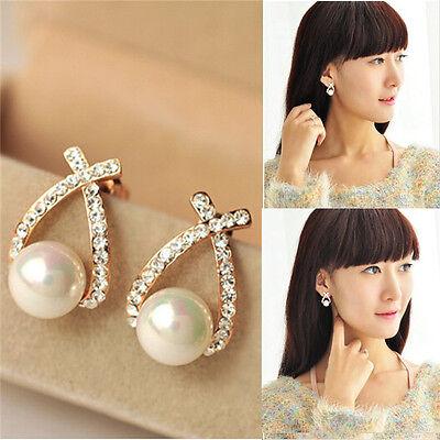 Elegant Jewelry Womens Crystal Pearl Rhinestone Ear Stud Earrings Wedding Gift