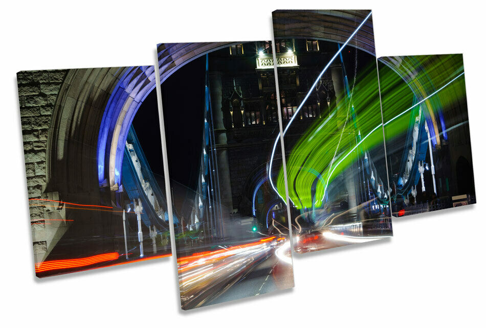 Tower Bridge London Abstract Traffic MULTI CANVAS WALL ART Boxed Framed