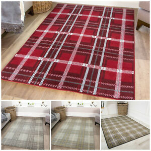 New Modern Tartan Living Room Rug Soft
