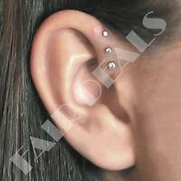 Steel Siver Set of 3 Sizes Clear Set Labret Studs Triple Forward Helix Earrings