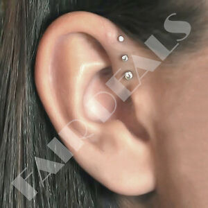 Steel-Siver-Set-of-3-Sizes-Clear-Set-Labret-Studs-Triple-Forward-Helix-Earrings