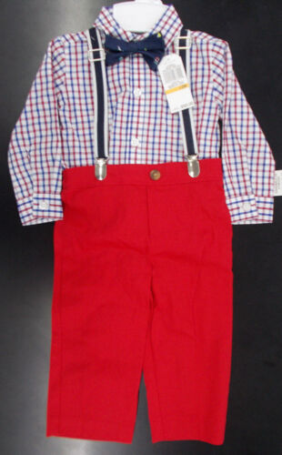 Infant Boys Nautica $50 4pc Chambray /& Khaki Suit w// Suspenders Sizes 12Mt-24Mth