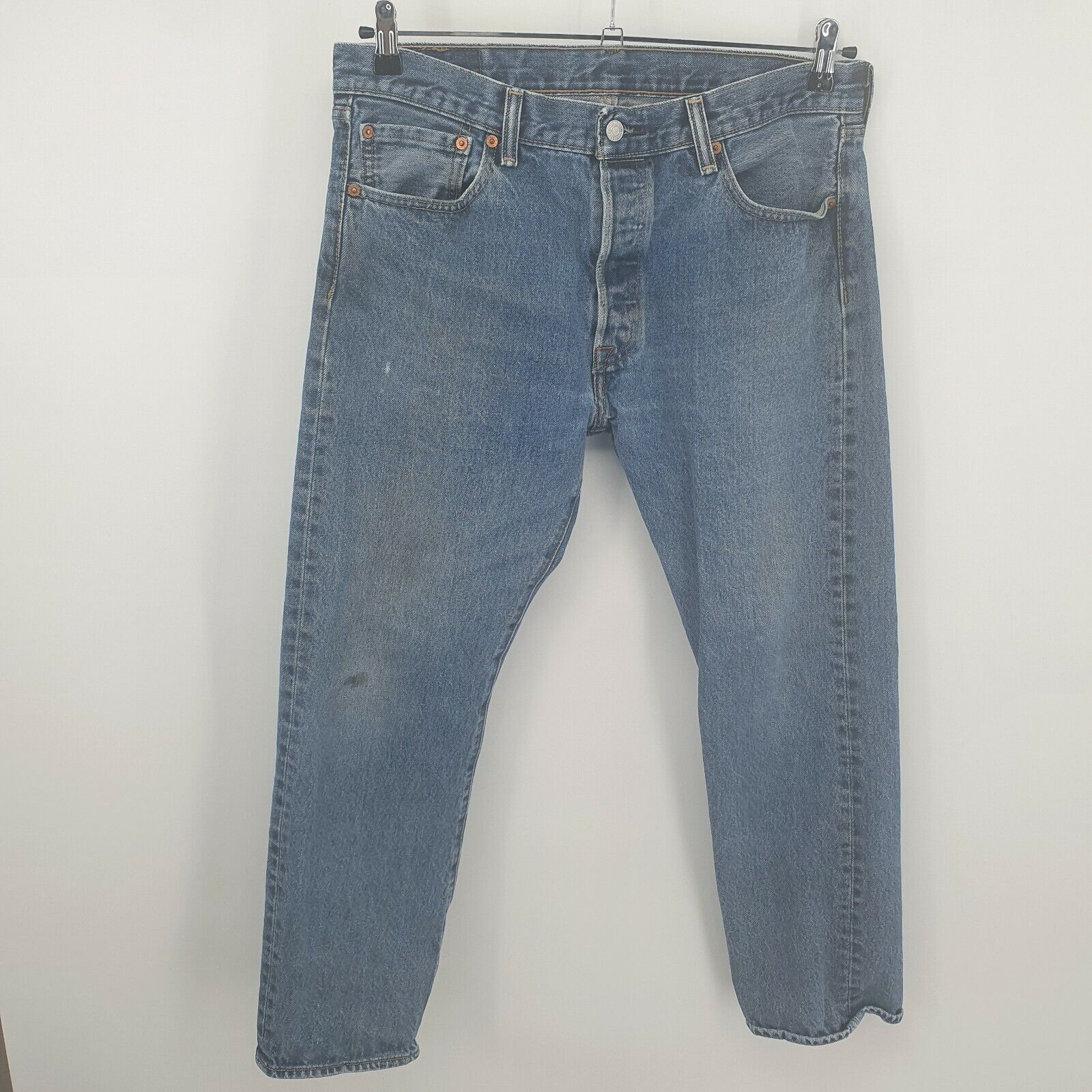 Levis 501 Distressed Jeans Button Fly Light Wash… - image 4