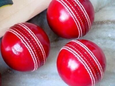 Vintage Hand Made Red Leather Cricket Fearnley Ball Club Made in India