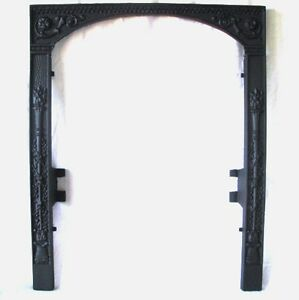 Antique Victorian Torch Floral Bead Cast Iron Fireplace