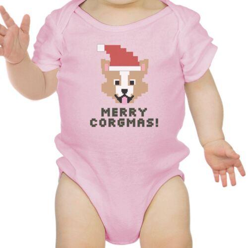 Merry Corgmas Corgi Baby Pink Bodysuit