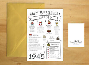75th 1945 Birthday Card Her Seventy Five Mum Dad Year Born Birth Personalised Ebay