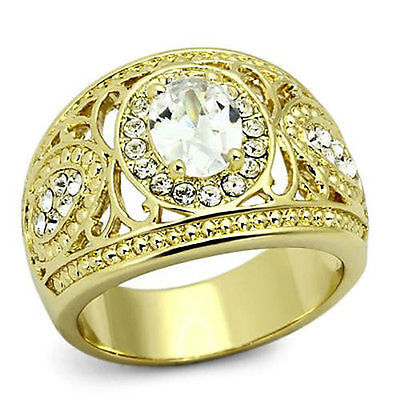 Stainless Steel Engagement Ring 1.21 CTW Solitaire CZ  Accents Gold IP Filigree