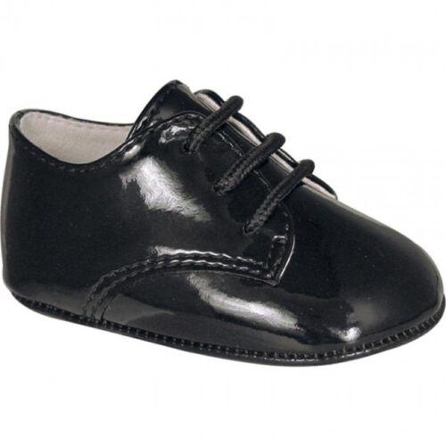 NWT Baby Deer Black Patent Dress Oxford Crib Shoes Boys Newborn Size 0 Classic