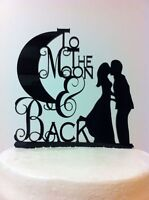 To The Moon & Back Bridal Shower Wedding Silhouette Cake Topper Decoration Favor