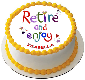 HAPPY RETIREMENT 7.5 PREMIUM Edible RICE Cake Topper CAN BE PERSONALISED D4