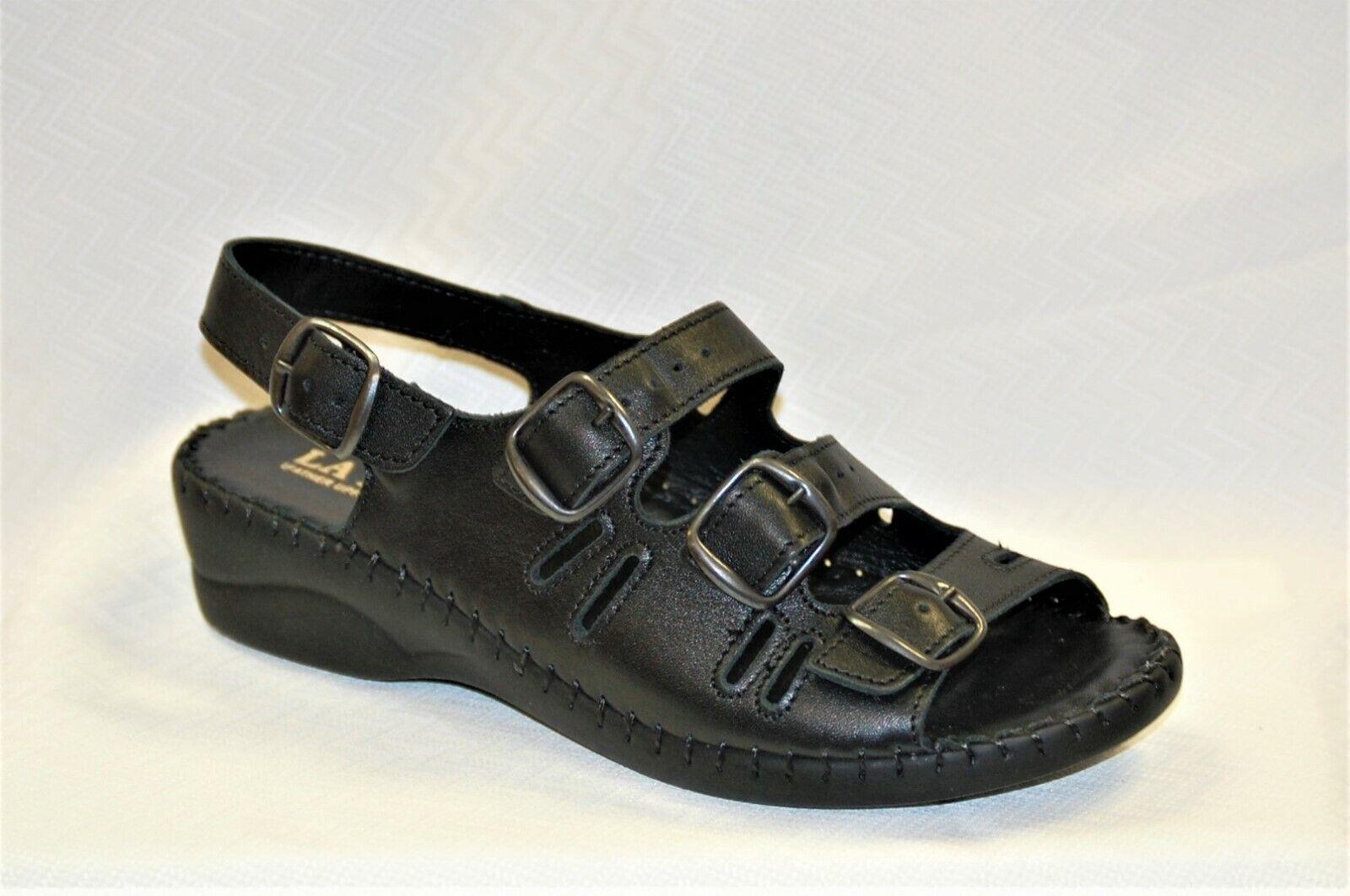 La Plume Blazer Women's Women's Women's BLACK  wedge sandal with adjustable straps SIZE 40 d054f2