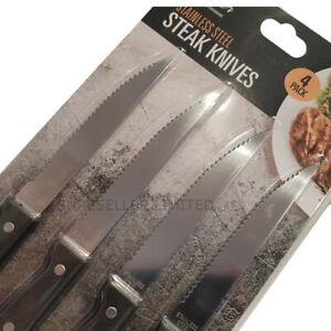 4-x-cuchillos-para-carne-de-corte-cocina-Mango-de-Madera-serated-Cubiertos-De-Acero-Inoxidable