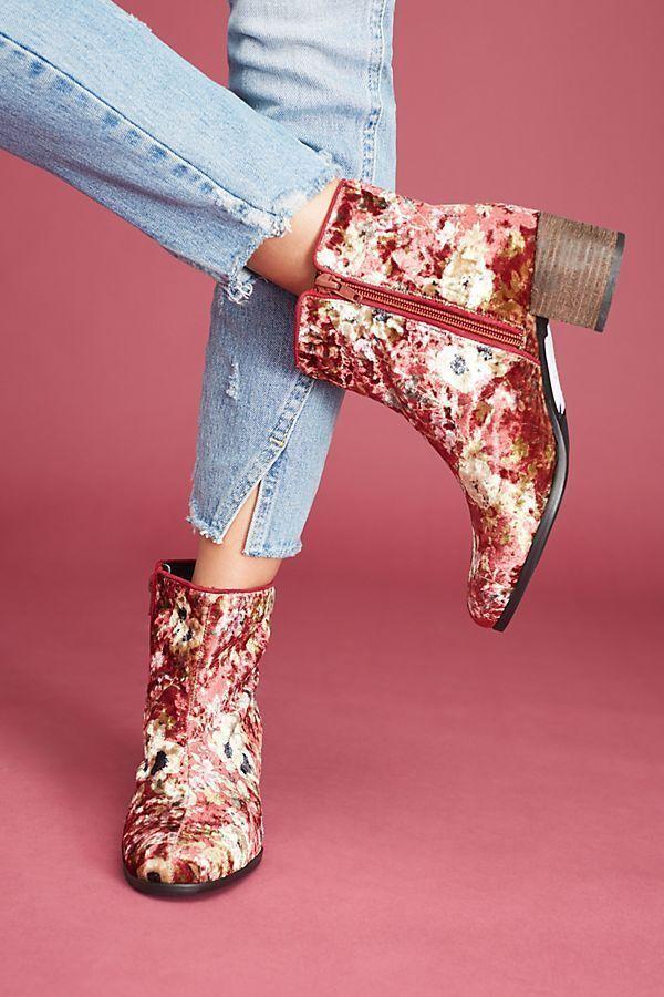 Anthropologie Elysess Floral Velvet Booties New Size 38 US 7-7.5