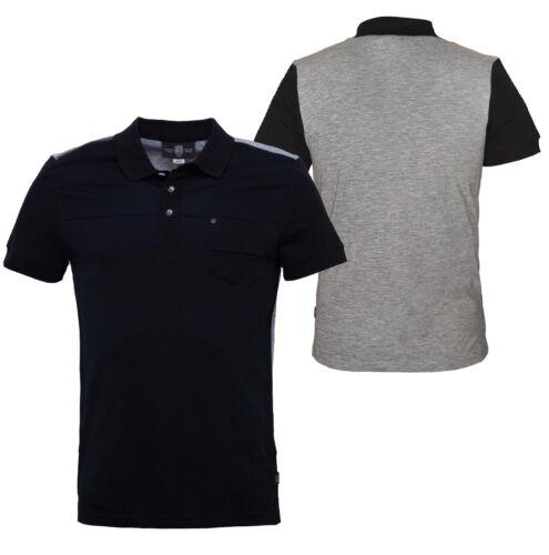 POLICE 883 BENSON New Mens Polo Shirt Pocket Zip Shoulder Black Grey Cotton BNWT