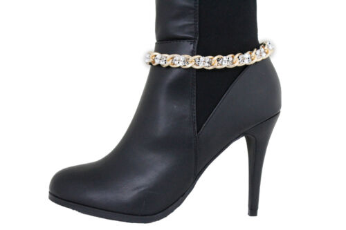 Women Gold Metal Chain Boot Bracelet Western Shoe Charm Anklet Silver Mesh Beads