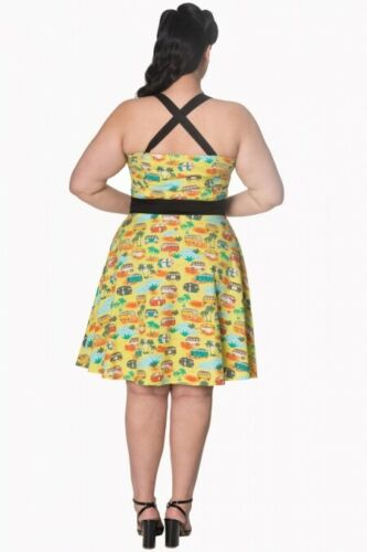 Banned Apparel Retro 50s Starlight Halter Campervan Dress Curve UK Sizes 16-22