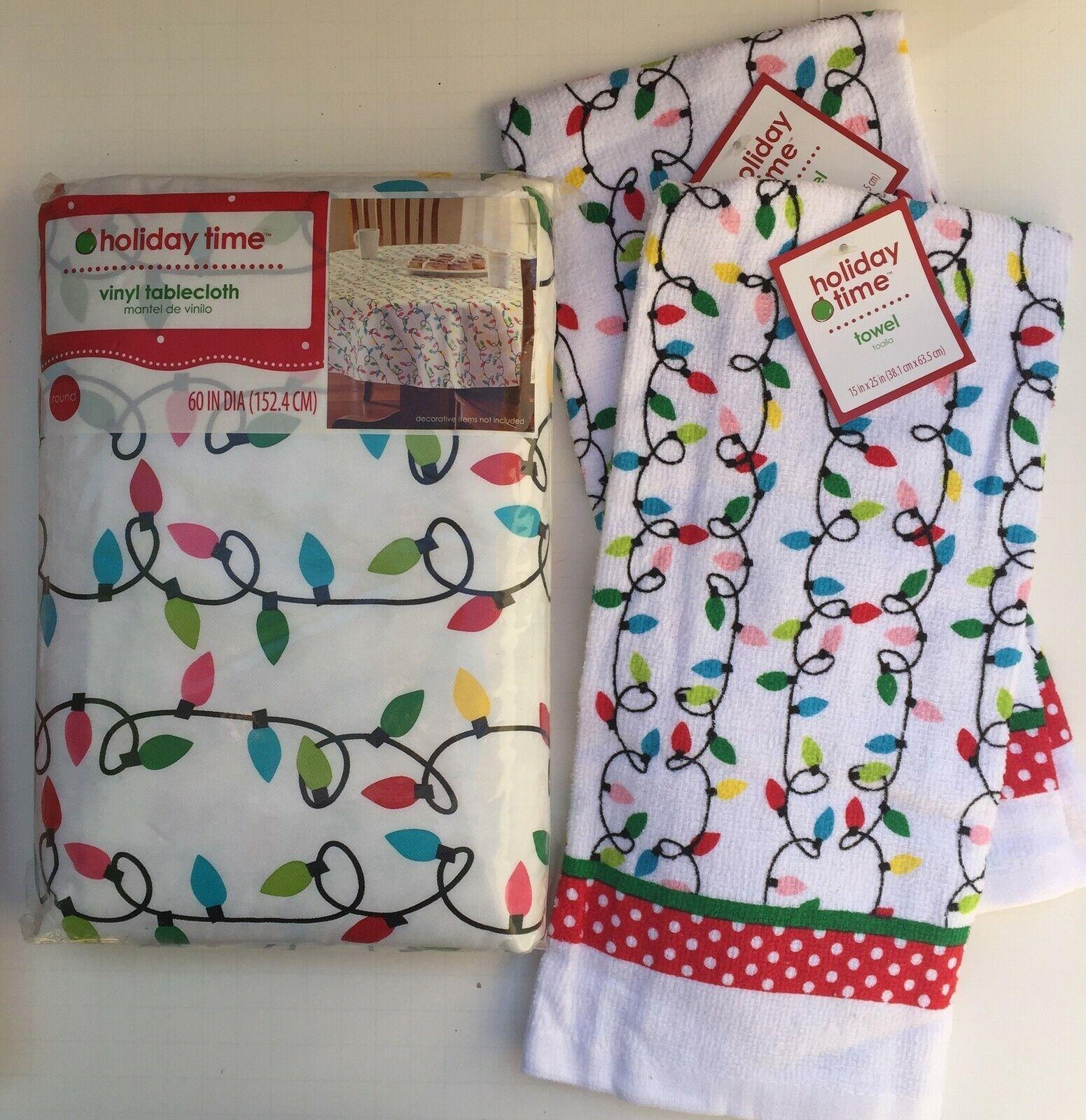 Vinyl Tablecloth 60 Round Christmas Tree Snowman Snowflakes For Sale Online Ebay