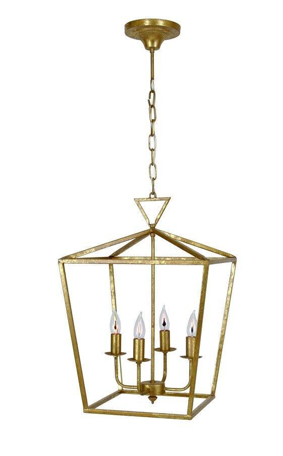 NEW FRENCH DARLANA 4 Lights IRON Gold LANTERN CHANDELIER PENDANT TRANSITIONAL