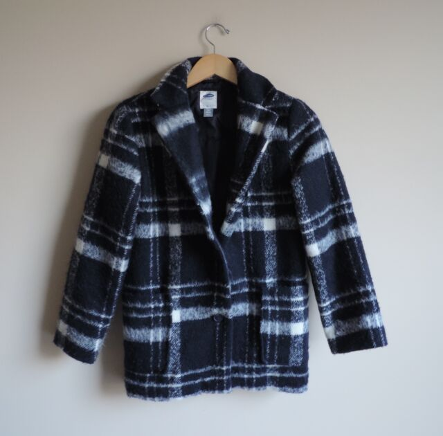 Girls Youth Old Navy Plaid White and Navy Long Dressy Coat Jacket Size XL 14