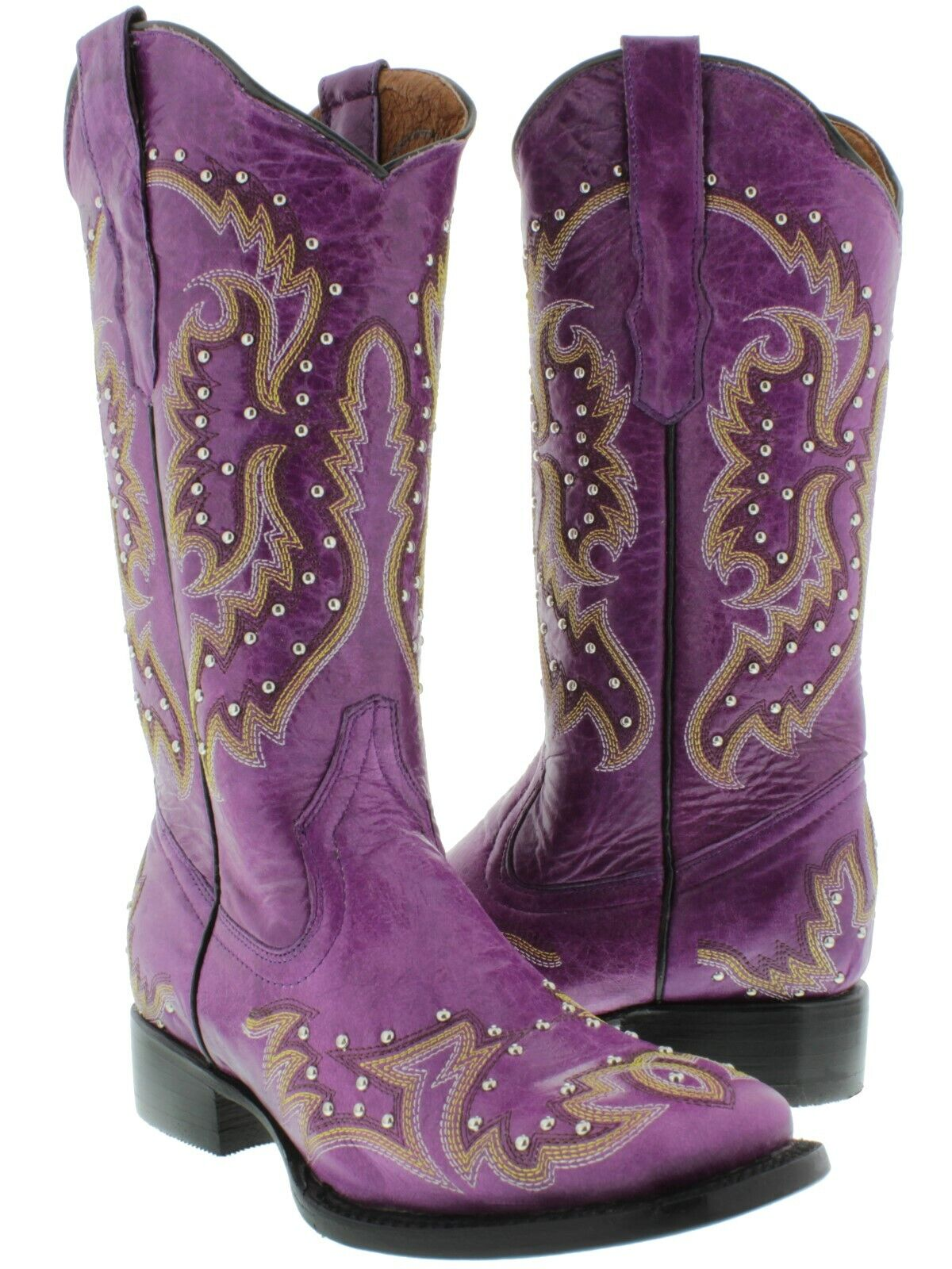 Womens Purple Cowgirl Boots Silver Studded Real Embroidery Leather Square Size 5