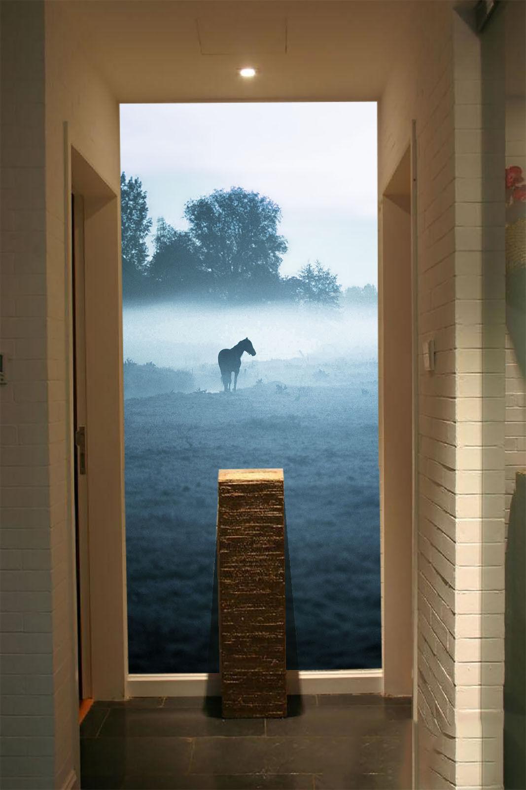 3D Horse Fog Meadow 5 Wall Paper Wall Print Decal Wall Deco Indoor Mural Summer