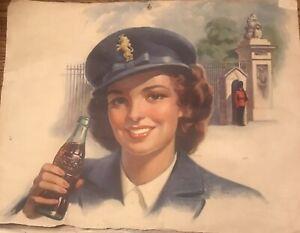 Vintage 1944 Coca Cola Calendar Pages 4 W PART CALENDAR DOUBLE SIDED WW 2 11