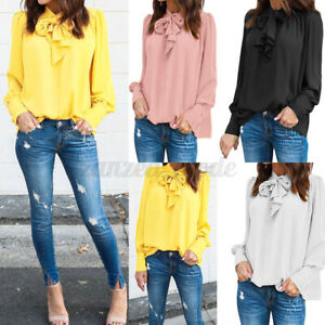 ZANZEA-Women-Long-Sleeve-Casual-Plain-Shirt-Tops-Bowknot-Tie-Ladies-Blouse-Plus
