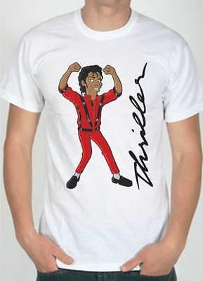 T-Shirt Michael Jackson Thriller, maglietta bianca con disegno cartoni animati