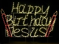 happy Birthday Jesus Sign Outdoor Led Lighted Decoration Steel Wireframe