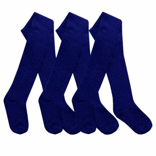 Girls Warm Knitted Warm Cotton Rich School Uniform Tights 3 Pack