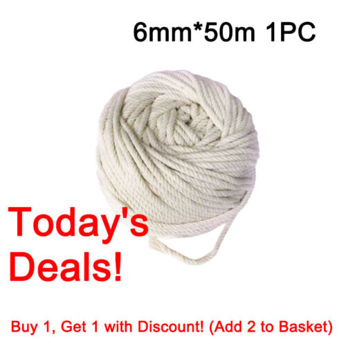 4//5//6mm Natural Beige Cotton Twisted Cord Rope Macrame String DIY Craft New UK
