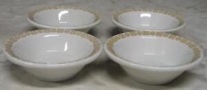 Vtg-Shenango-China-sauce-fruit-berry-dessert-Bowls-Daisy-Dot-Lot-s-of-4-gold