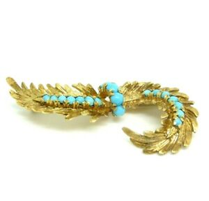 Fine Pins & Brooches Rational Broche Vintage AnnÉes '50 Or Massif 18 Kt Foglie Made In Italy At All Costs Fine Jewelry