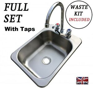 Small-Camper-Motorhome-Stainless-Work-Top-SINK-Waste-Plug-amp-Tap-TIDY-SELF-BUILD