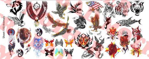 Animal variety pack 1//6 Scale Custom Tattoos Waterslide Decals