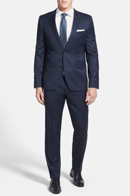 NWT BOSS Aeron Hamen Two Button Notch Lapel Wool Suit 46R