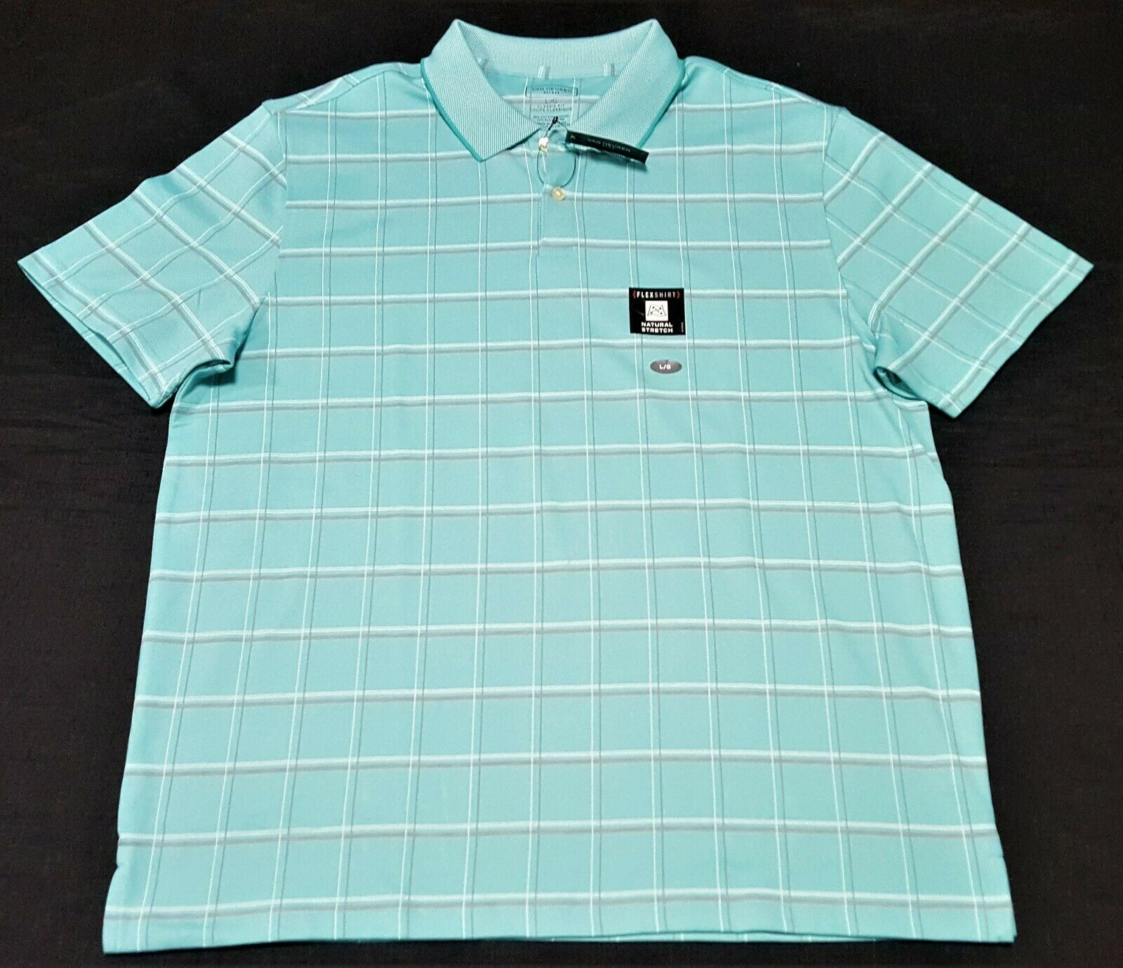 Van Heusen Men's Flex Short Sleeve  Stripe Polo Shirt, Size Large (FLEX)