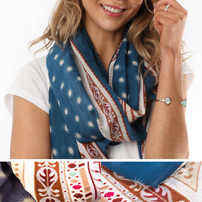 Blue Abstract Paisley Print  Long Lightweight Summer Scarf  Free P/& P 90x180cms